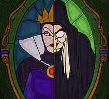 Mirror mirror - stained glass villains by UncleFrogface