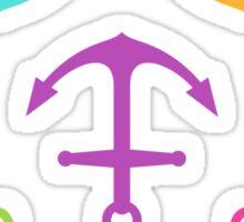 Anchors - aqua blue, purple, hot pink, green and yellow Sticker