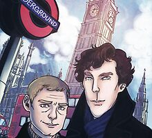 Sherlock and John in London by enerjax