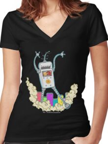 Be Careful. Colourful Robots! Women's Fitted V-Neck T-Shirt