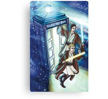 Sherlock and John - Jedi in the Tardis Canvas Print