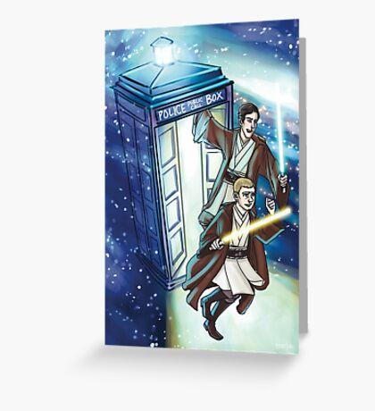 Sherlock and John - Jedi in the Tardis Greeting Card