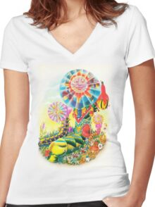 Psychedelic Caterpillar  Women's Fitted V-Neck T-Shirt