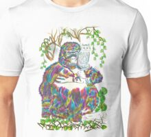 Vibrant Jungle Gorilla and Pet Cat Unisex T-Shirt