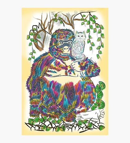 Vibrant Jungle Gorilla and Pet Cat Photographic Print