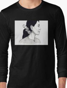 Aung San Suu Kyi Illustration Long Sleeve T-Shirt