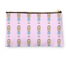 Cute little girl with brown hair and blue skirt  Studio Pouch