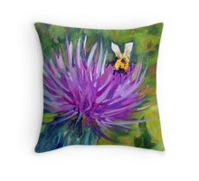 Musk Thistle Blossom Throw Pillow