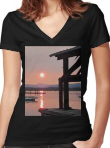 Cowichan Bay in July Women's Fitted V-Neck T-Shirt