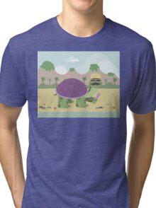Turtle on a beach eating ice cream Tri-blend T-Shirt