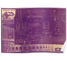 Douglas DC-3 Blueprint Poster