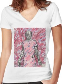 'Energy Made Real (Portrait of Jackson Pollack)' Women's Fitted V-Neck T-Shirt