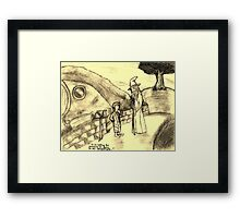 Bilbo Meets Gandalf Framed Print