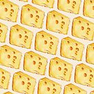 Cheese Pattern (White Background) by Kelly  Gilleran