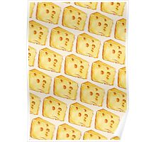 Cheese Pattern (White Background) Poster