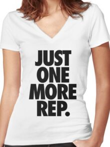 JUST ONE MORE REP. Women's Fitted V-Neck T-Shirt