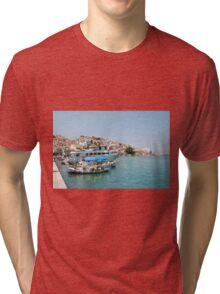 Skopelos harbour, Greece Tri-blend T-Shirt