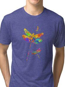 Dragonfly Watercolor Art Tri-blend T-Shirt