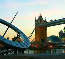 Tower Bridge and sun dial at dusk, London by zuzanab