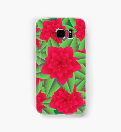 Dark Red Camellias and Green Leaves Samsung Galaxy Case/Skin