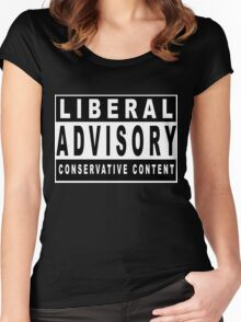 Conservative Content - Leans Right - Warning of Conservative Content - Pro-GOP - Republicans - Politics Women's Fitted Scoop T-Shirt