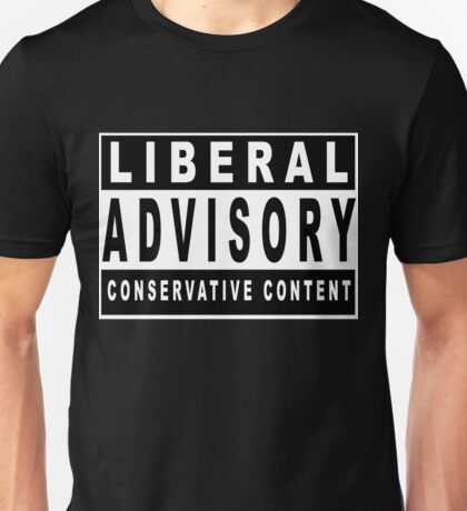 Conservative Content - Leans Right - Warning of Conservative Content - Pro-GOP - Republicans - Politics Unisex T-Shirt