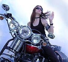 Girl on Motorbike by Ken Morcom
