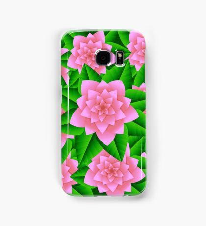 Ice Pink Camellias and Green Leaves Samsung Galaxy Case/Skin