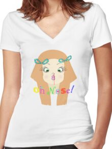 Oh Nose! Women's Fitted V-Neck T-Shirt