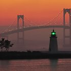 The Fog Rolls Behind Goat Island Lighthouse  by Kamalyn