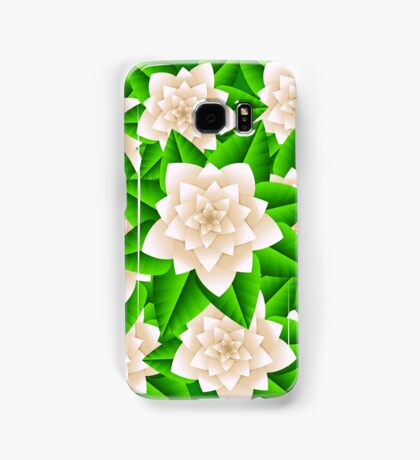 White Camellias and Green Leaves Samsung Galaxy Case/Skin