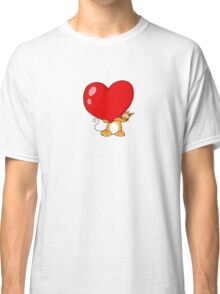 orange cat with a big red heart Classic T-Shirt