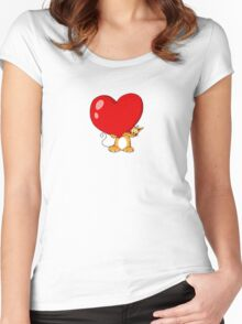 orange cat with a big red heart Women's Fitted Scoop T-Shirt