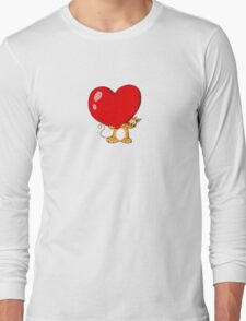 orange cat with a big red heart Long Sleeve T-Shirt