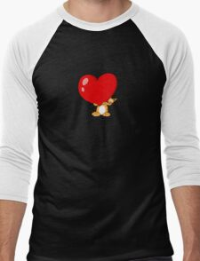 orange cat with a big red heart Men's Baseball ¾ T-Shirt