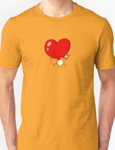 orange cat with a big red heart Unisex T-Shirt