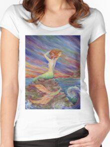 Mermaid Siren Song fantasy art original mermaid art Women's Fitted Scoop T-Shirt