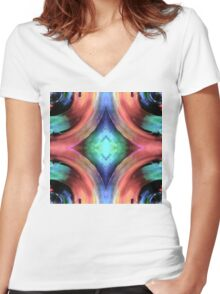 Reflection of Texture and Color Women's Fitted V-Neck T-Shirt