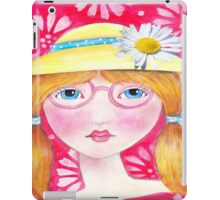Whimisical Girl with Yellow Hat iPad Case/Skin