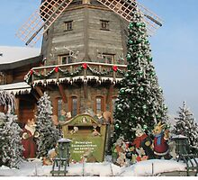 Christmas Holiday Card 5541V - Santa's Windmill LIDO Riga Latvia by FirstTree