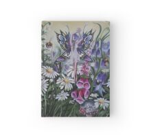 Meadow, summer,foxglove,white flower,mouse,bee, butterfly fairy faerie, fantasy Hardcover Journal