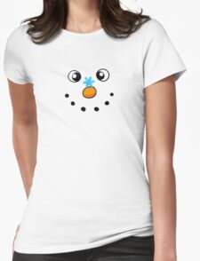 Funny winter white snowman with snowflake Womens Fitted T-Shirt