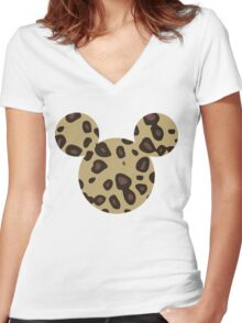 Mouse Leopard Patterned Silhouette Women's Fitted V-Neck T-Shirt