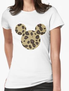 Mouse Leopard Patterned Silhouette Womens Fitted T-Shirt