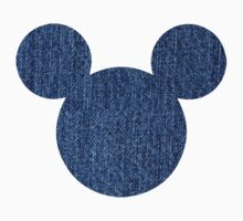 Mouse Denim Patterned Silhouette Kids Tee