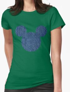 Mouse Denim Patterned Silhouette Womens Fitted T-Shirt