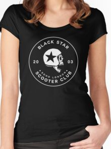 BLACK STAR SCOOTER CLUB  Women's Fitted Scoop T-Shirt