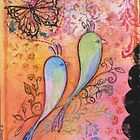 Love birds with butterfly by sue mochrie