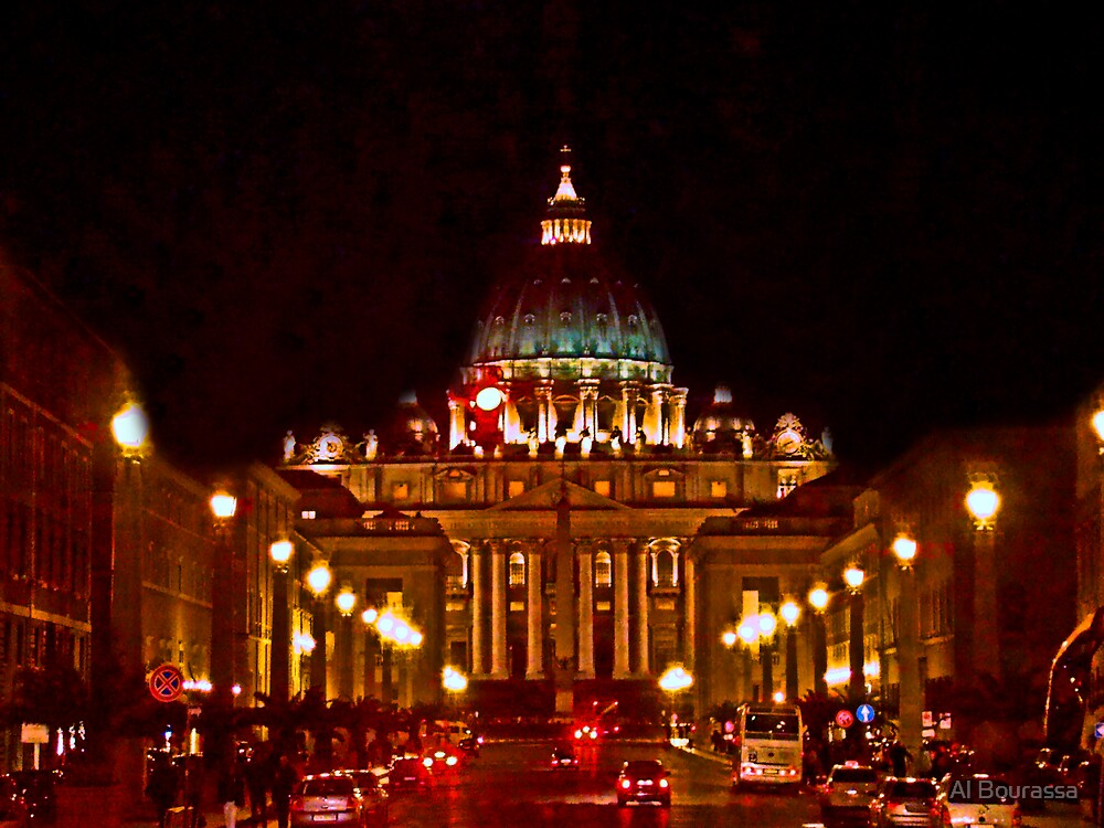 St. Peter's Basilica At Night by Al Bourassa