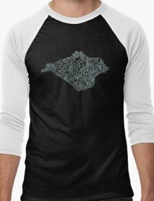 Isle of Wight area text map in Duck Egg Blue Men's Baseball ¾ T-Shirt